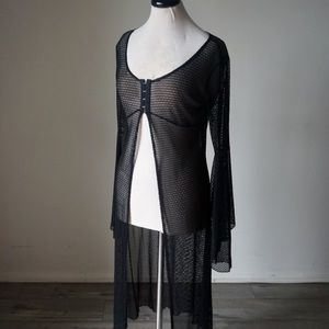 Other - Vintage Black Mesh Long Maxi Bell Sleeve